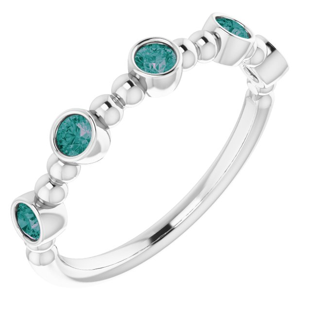 Genuine Alexandrite Ring in Sterling Silver Alexandrite Stackable Beaded Ring