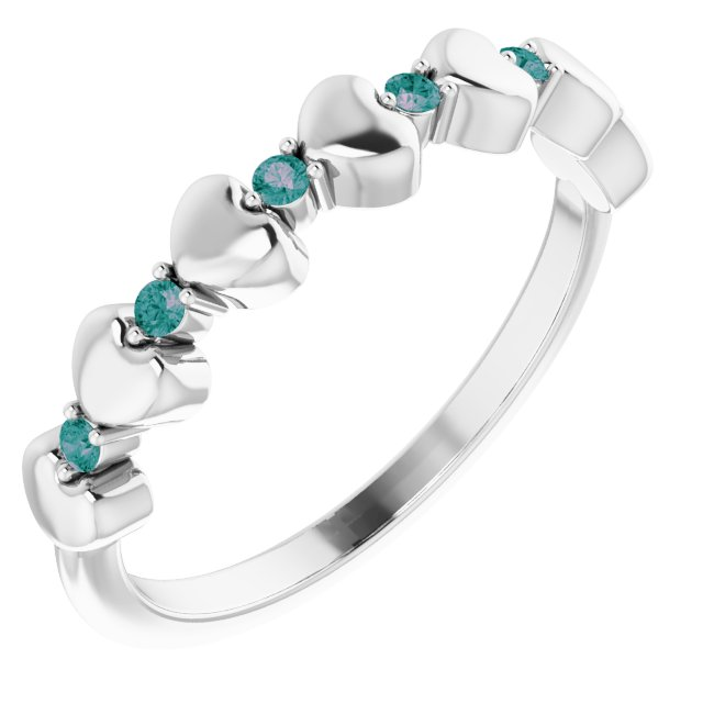 Genuine Alexandrite Ring in Sterling Silver Alexandrite Stackable Heart Ring