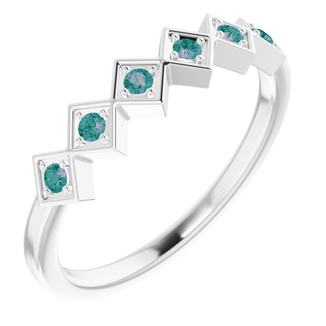 Genuine Alexandrite Ring in Sterling Silver Alexandrite Stackable Ring