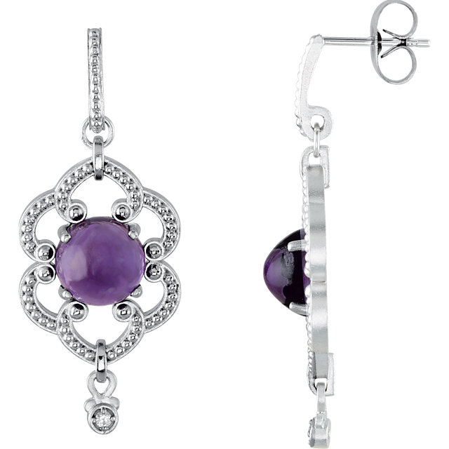 Fine Quality Sterling Silver Amethyst & .03 Carat Total Weight Diamond Milgrain Earrings