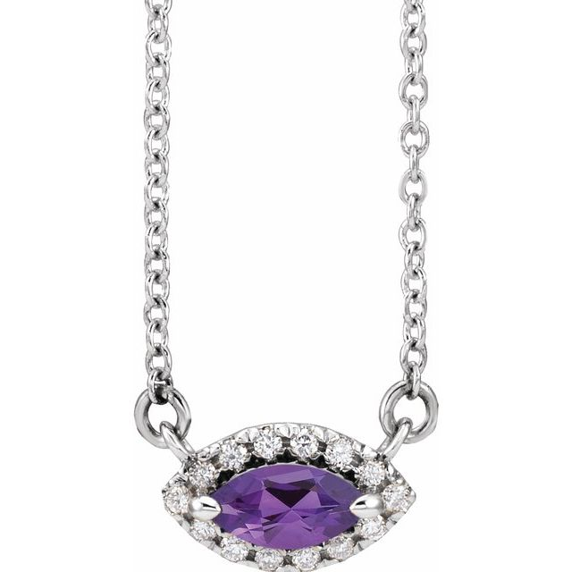 Genuine Amethyst Necklace in Sterling Silver Amethyst & .05 Carat Diamond Halo-Style 16