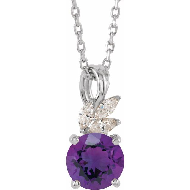 Genuine Amethyst Necklace in Sterling Silver Amethyst & 1/10 Carat Diamond 16-18