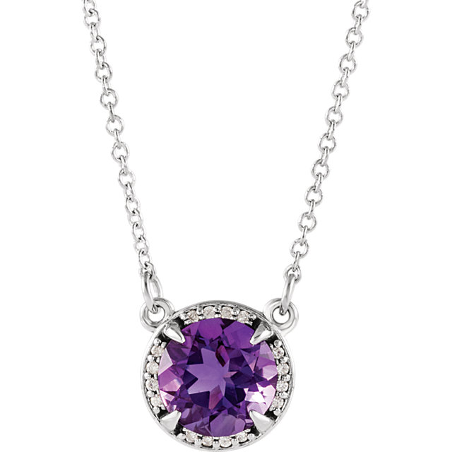 Excellent Sterling Silver Round Genuine Amethyst and .04 Carat Total Weight Diamond Necklace
