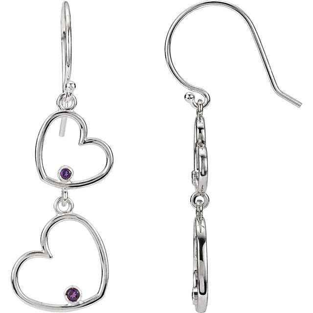 Great Deal in Sterling Silver Amethyst Double Heart Earrings