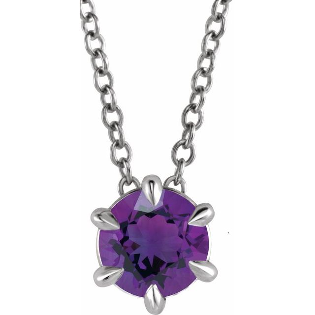 Genuine Amethyst Necklace in Sterling Silver Amethyst Solitaire 16-18