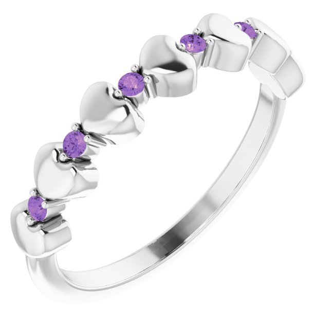 Genuine Amethyst Ring in Sterling Silver Amethyst Stackable Heart Ring