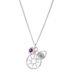 Sterling Silver Amethyst, Turquoise & Cubic Zirconia Charm 16
