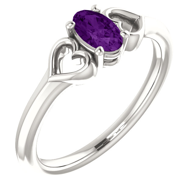 Very Nice Sterling Silver Amethyst Youth Heart Ring