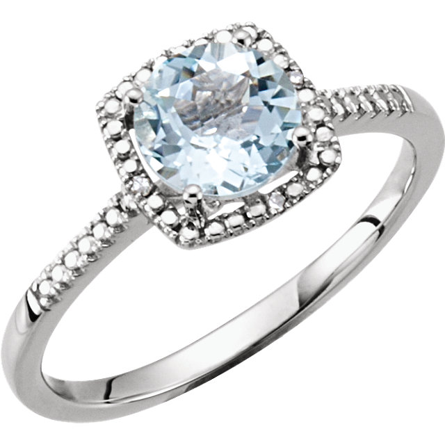 Fine Quality Sterling Silver Aquamarine & .01 Carat Total Weight Diamond Ring