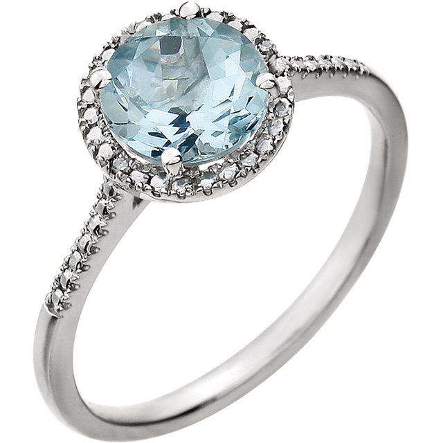 Must See Sterling Silver Aquamarine & .01 Carat Total Weight Diamond Ring