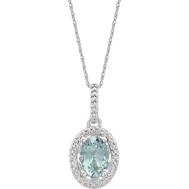 Beautiful Sterling Silver Aquamarine & .01 Carat Total Weight Diamond 18