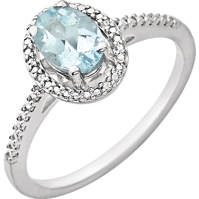 Attractive Sterling Silver Oval Genuine Aquamarine & .01 Carat Total Weight Diamond Ring