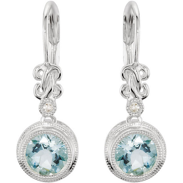 Great Deal in Sterling Silver Aquamarine & .02 Carat Total Weight Diamond Earrings