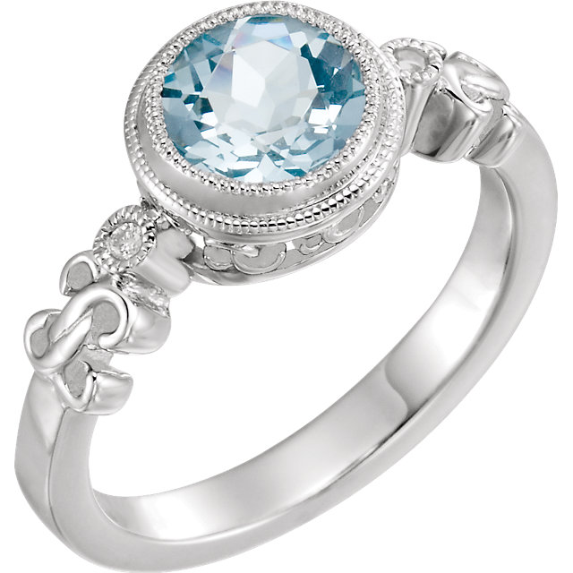 Attractive Sterling Silver Round Genuine Aquamarine & .02 Carat Total Weight Diamond Ring