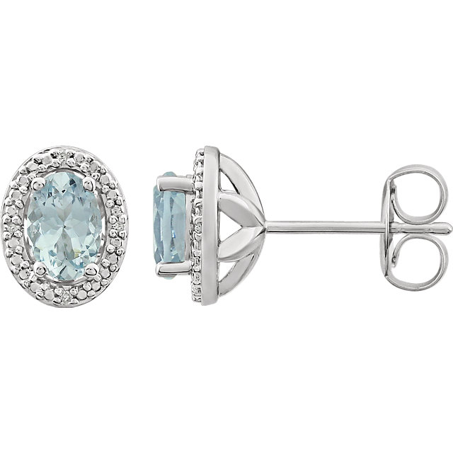 Wonderful Sterling Silver Aquamarine & .025 Carat Total Weight Diamond Earrings