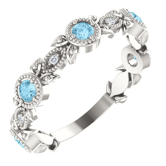 Easy Gift in Sterling Silver Aquamarine & .03 Carat Total Weight Diamond Leaf Ring