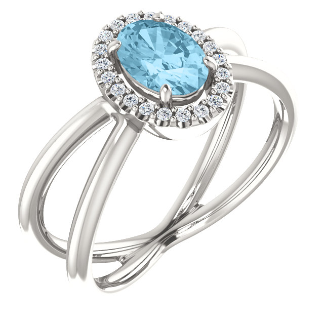 Appealing Jewelry in Sterling Silver Aquamarine & 0.10 Carat Total Weight Diamond Ring
