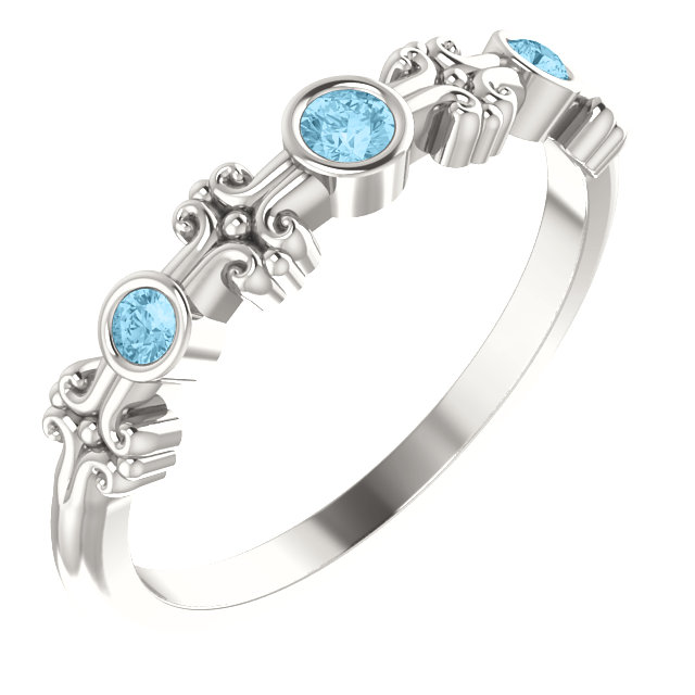 Gorgeous Sterling Silver Aquamarine Bezel-Set Ring