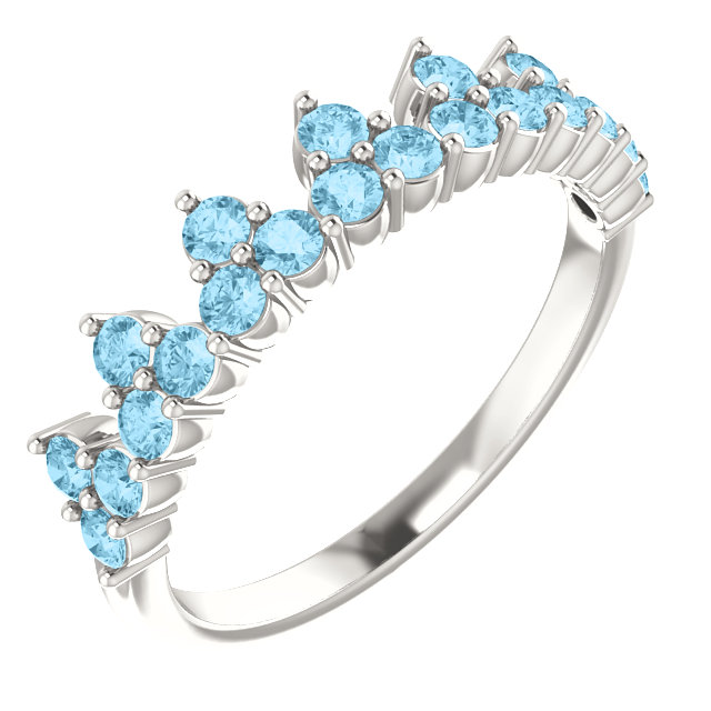 Great Gift in Sterling Silver Aquamarine Crown Ring