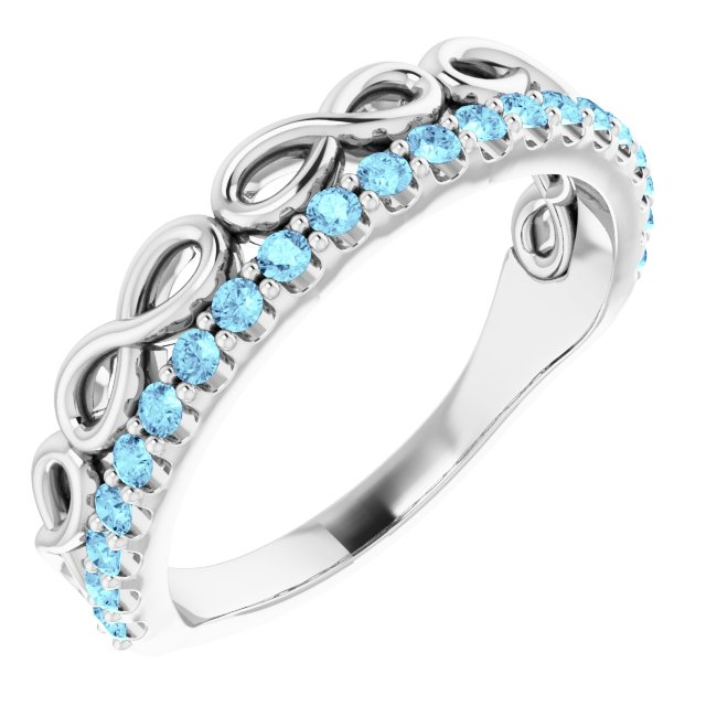 Genuine Aquamarine Ring in Sterling Silver Aquamarine Infinity-Inspired Stackable Ring