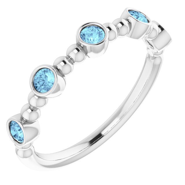 Genuine Aquamarine Ring in Sterling Silver Aquamarine Stackable Beaded Ring