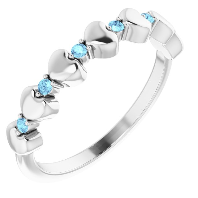 Genuine Aquamarine Ring in Sterling Silver Aquamarine Stackable Heart Ring