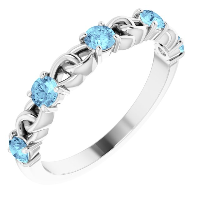 Genuine Aquamarine Ring in Sterling Silver Aquamarine Stackable Link Ring