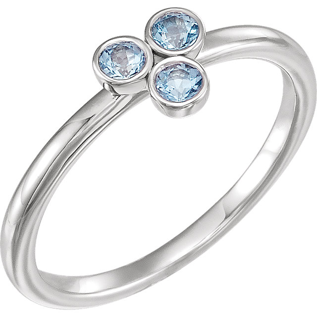 Chic Sterling Silver Aquamarine Stackable Ring