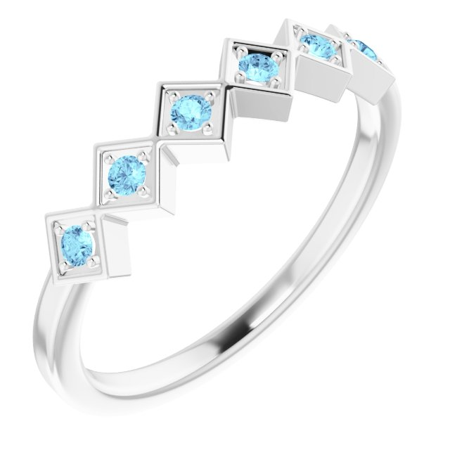 Genuine Aquamarine Ring in Sterling Silver Aquamarine Stackable Ring
