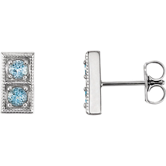Perfect Gift Idea in Sterling Silver Aquamarine Two-Stone Earrings