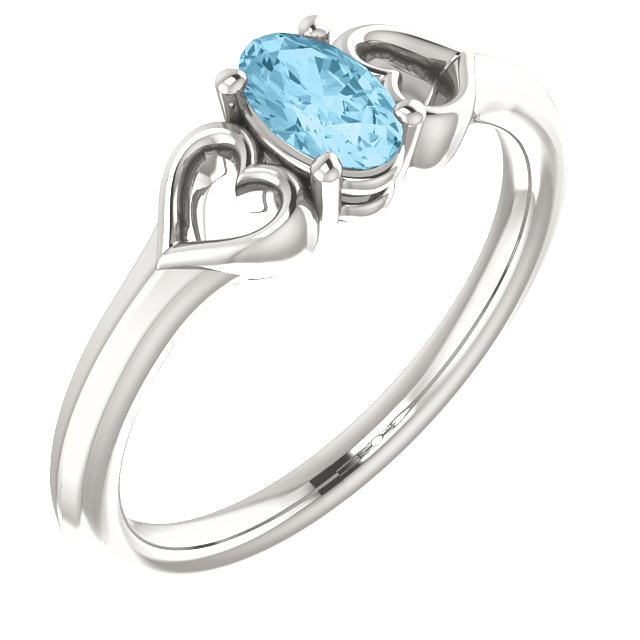 Sterling Silver Aquamarine Youth Heart Ring