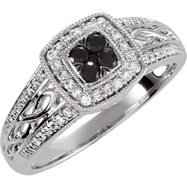 Black Spinel Ring in Sterling Silver Black Spinel & 1/5 Carat Diamond Ring Size 5
