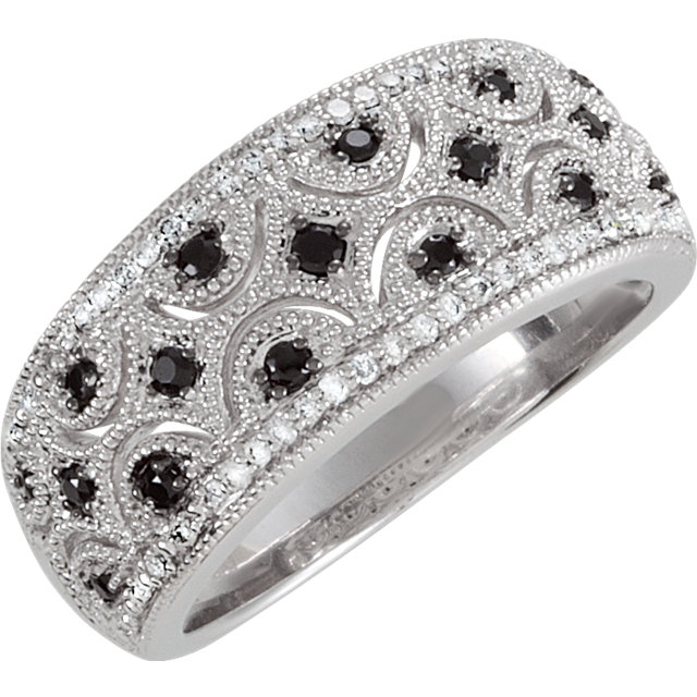 Enchanting Sterling Silver Round Genuine Black Spinel & 1/8 Carat Total Weight Diamond Ring Size 6