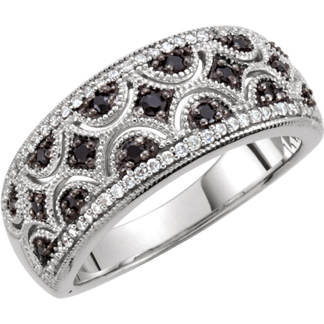 Exquisite Sterling Silver Round Genuine Black Spinel & 1/8 Carat Total Weight Diamond Ring Size 8