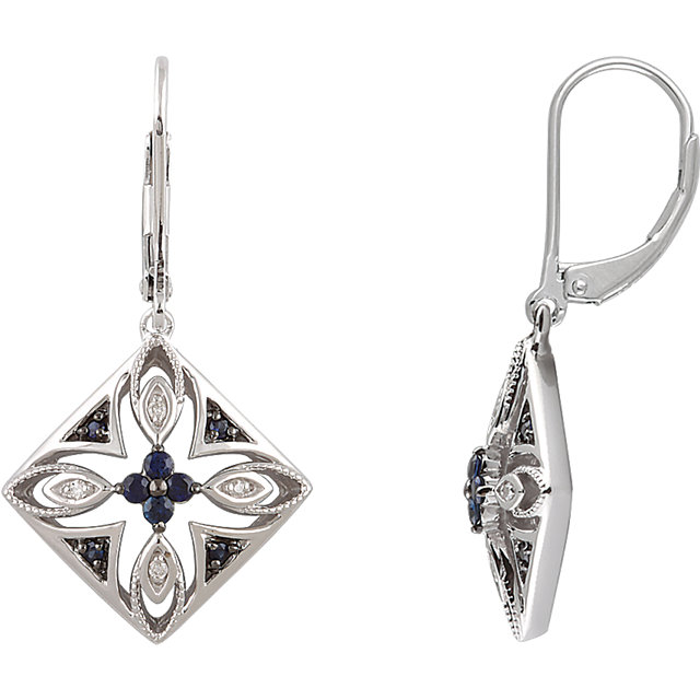 Wonderful Sterling Silver Blue Sapphire & .04 Carat Total Weight Diamond Lever Back Earrings