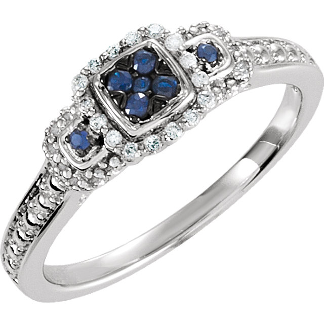 Great Buy in Sterling Silver Blue Sapphire & .06 Carat Total Weight Diamond Ring
