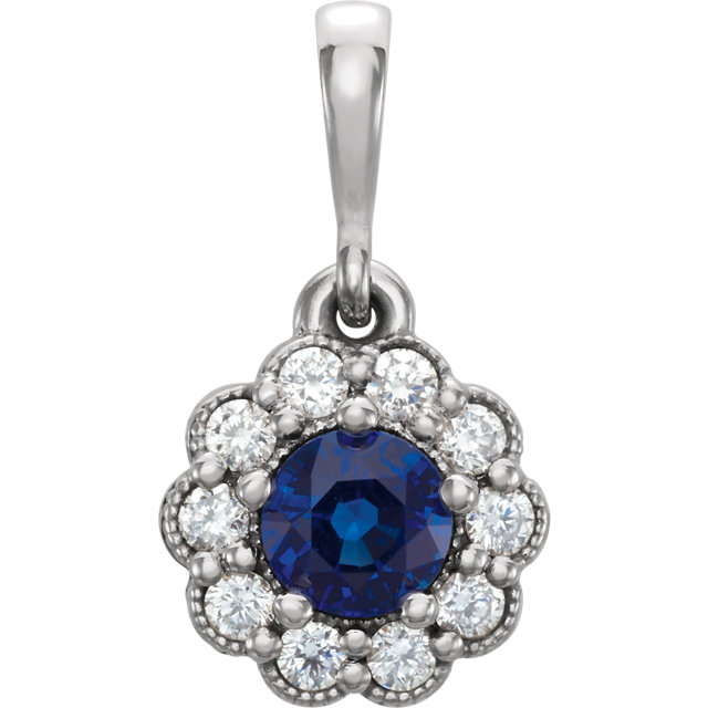 Eye Catching Sterling Silver Round Genuine Blue Sapphire & 1/6 Carat Total Weight Diamond Pendant