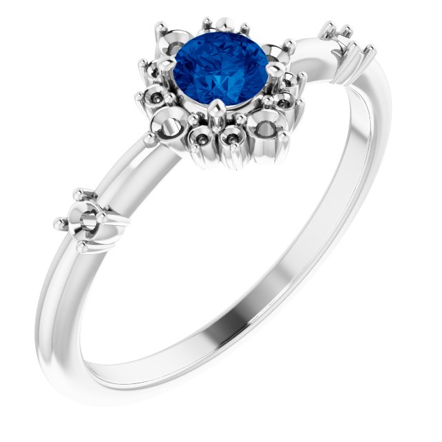 Genuine Sapphire Ring in Sterling Silver Genuine Sapphire & 1/6 Carat Diamond Ring