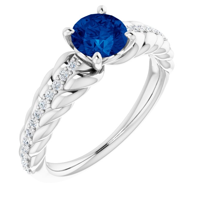 Genuine Sapphire Ring in Sterling Silver Genuine Sapphire & 1/8 Carat Diamond Ring