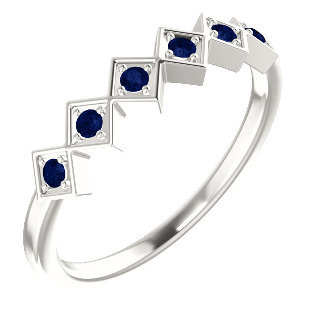 Must See Sterling Silver Blue Sapphire Stackable Ring