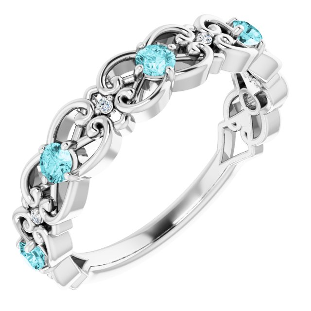 Genuine Zircon Ring in Sterling Silver Genuine Zircon & .02 Carat Diamond Vintage-Inspired Scroll Ring