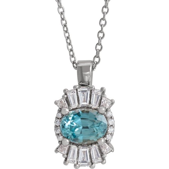 Genuine Zircon Necklace in Sterling Silver Genuine Zircon & 1/3 Carat Diamond 16-18