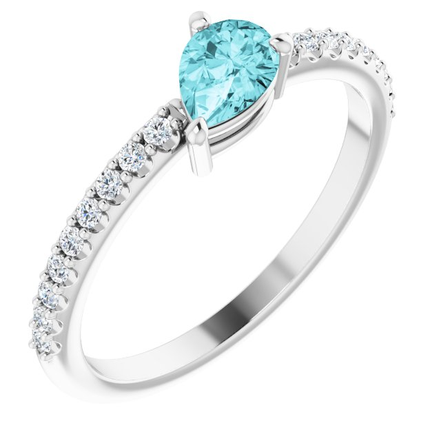 Genuine Zircon Ring in Sterling Silver Genuine Zircon & 1/6 Carat Diamond Ring