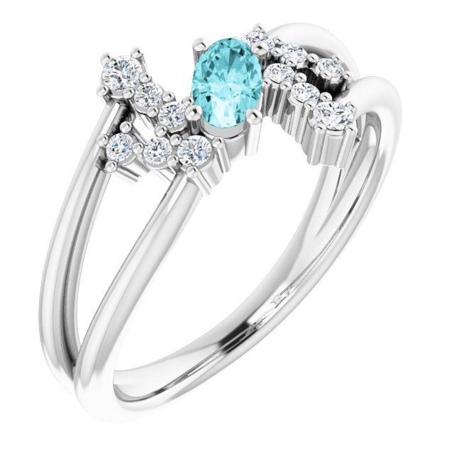 Genuine Zircon Ring in Sterling Silver Genuine Zircon & 1/8 Carat Diamond Bypass Ring