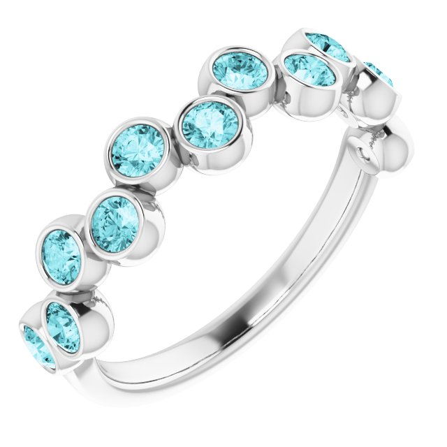 Genuine Zircon Ring in Sterling Silver Genuine Zircon Bezel-Set Ring