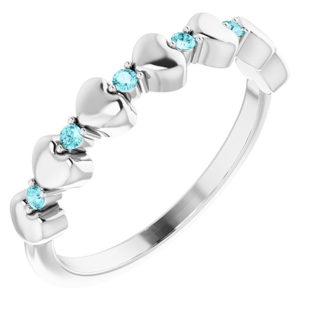 Genuine Zircon Ring in Sterling Silver Genuine Zircon Stackable Heart Ring