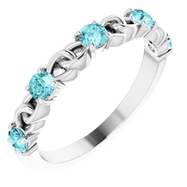 Genuine Zircon Ring in Sterling Silver Genuine Zircon Stackable Link Ring