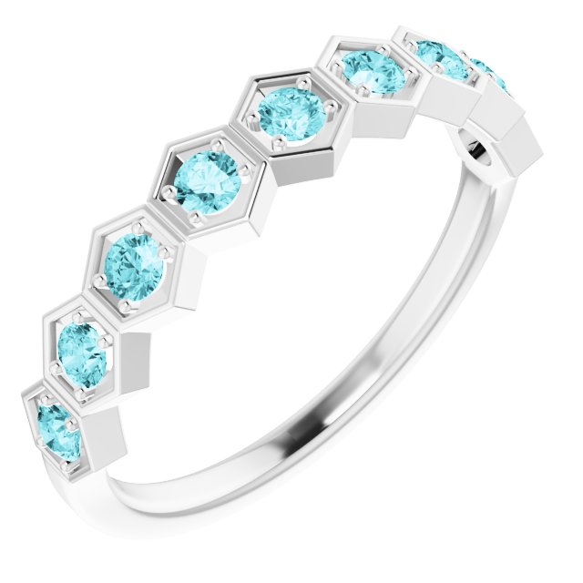Genuine Zircon Ring in Sterling Silver Genuine Zircon Stackable Ring