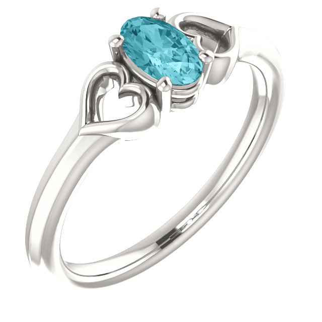 Chic Sterling Silver Blue Zircon Youth Heart Ring