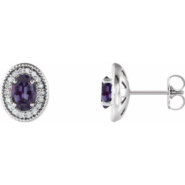 Color Change Chatham  Alexandrite Earrings in Sterling Silver Chatham  Alexandrite & 1/5 Carat Diamond Halo-Style Earrings